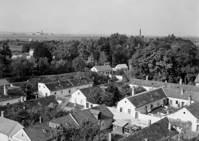 Luftaufnahme der Fabrikssiedlung, um 1955