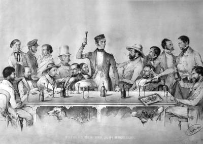 Sektverkostung im Juni 1846. Den Toast auf den rechts aussen sitzenden Robert Schlumberger spricht der Leinenwarenhändler Samuel Jägermeister. Lithographie von Gottlieb Reiffenstei